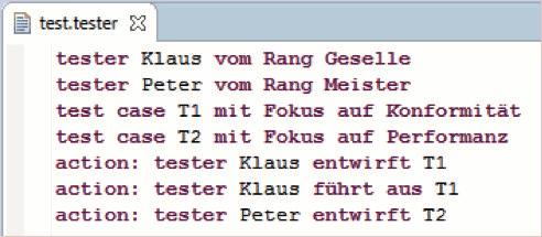 Instanz der xText-Sprache über Tester